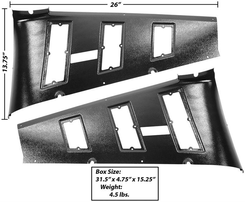 Quarter Vent/ Trim Panels 2-Pieces, 1965-66 Mustang Fastback
