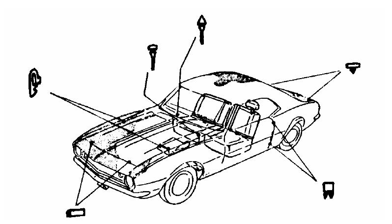 Rubber Bumper Kits w/ Hood Adjuster Bolts, 1964-65 Buick